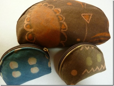 草木染のポーチ、ミニ財布