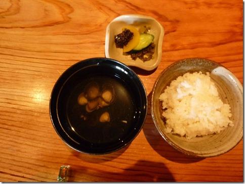 蔓ききょうのご飯と瀬田しじみ汁