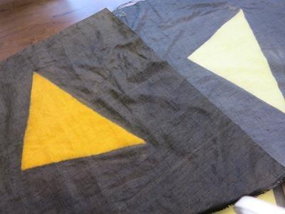 ユーカリで草木染した麻の布。座布団にするそうです。
