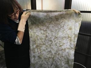 月桂樹で草木染した布