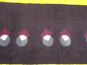 蘇芳の鉄媒染で絞り技法を使った麻の布