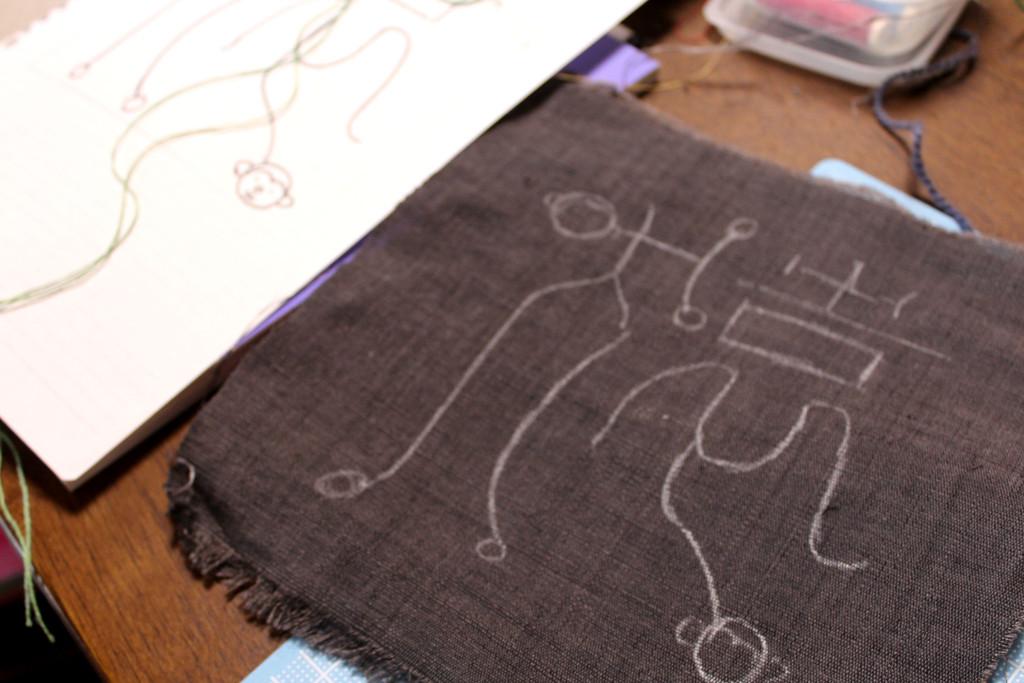 草木染 フェルト&刺繍