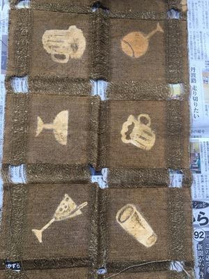 草木染に着抜技法した綿麻のコースター