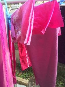 ウメノキゴケで草木染するとシルクやウールは赤紫色