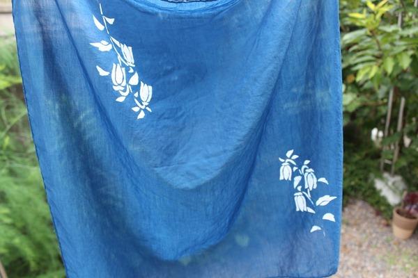 草木染教室で藍抜染技法。やり方5