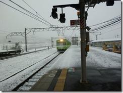 2011年2月14日の京都府木津駅にて雪景色