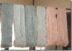 草木染、梅と月桂樹で染めたモヘヤの糸