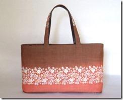 桜段柄の草木染バッグ