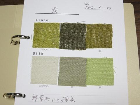 桑の草木染めの色見本
