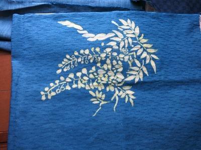 藍染抜染技法、型紙を使って